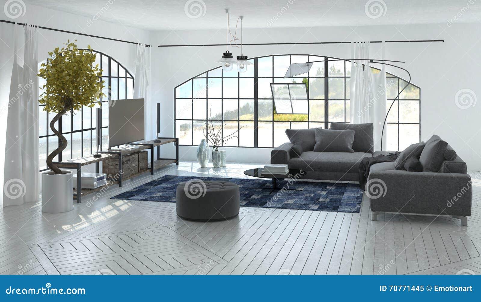 Salon Gris Et Blanc Spacieux Confortable Image stock - Image ...