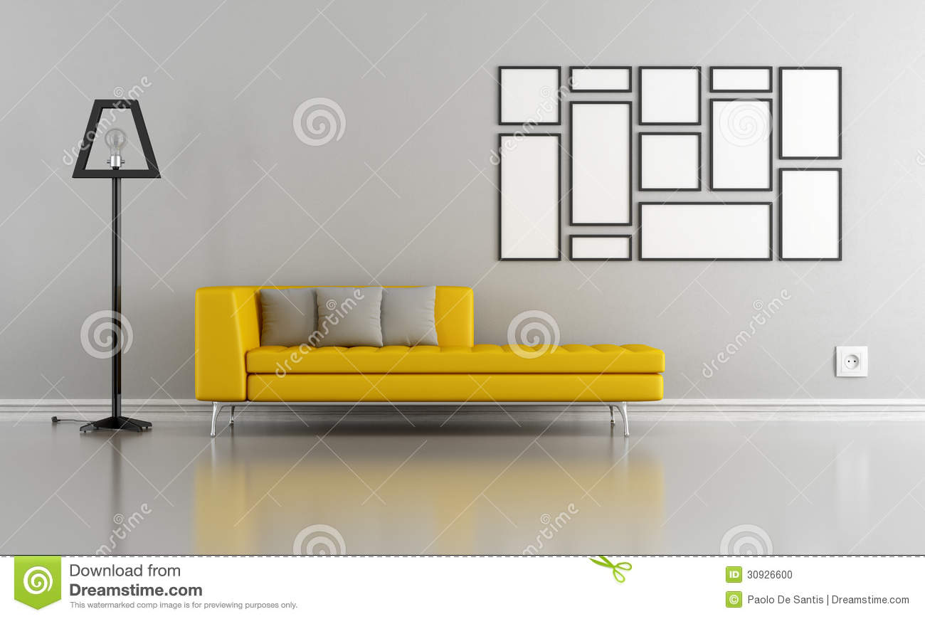 Salon gris et jaune minimaliste photo stock image 30926600 for Salon gris et jaune
