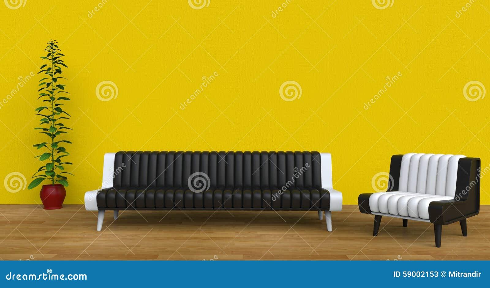 Salon jaune moderne photo stock   image: 59002153