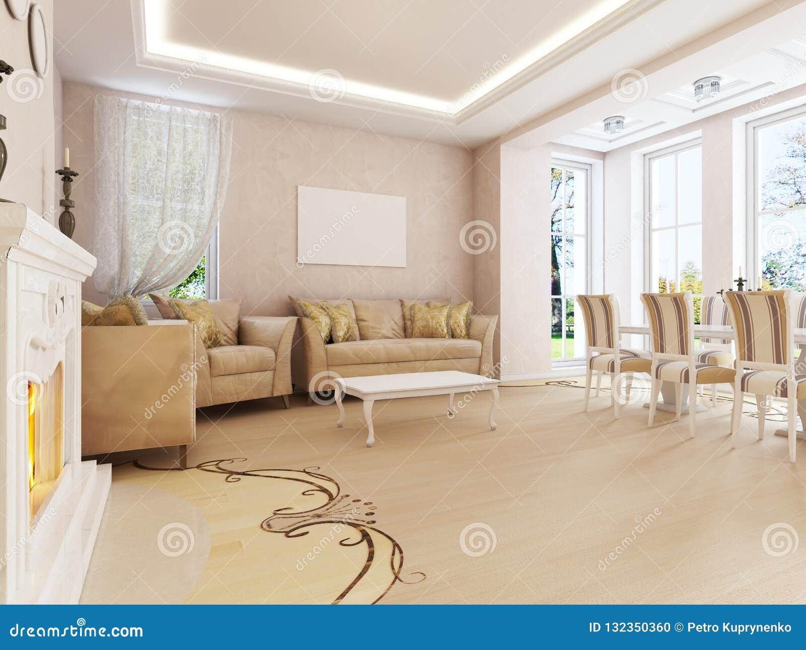 Salon Table À Manger salon léger dans le style classique léger avec des éléments