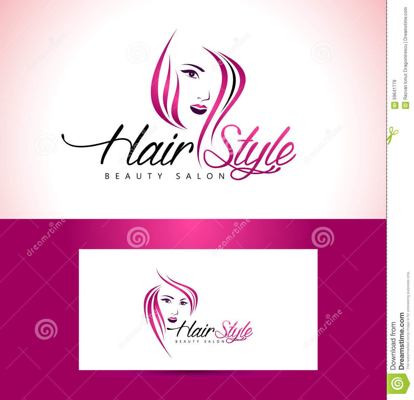 Salon logo design de coiffure illustration de vecteur - Logo salon de coiffure ...