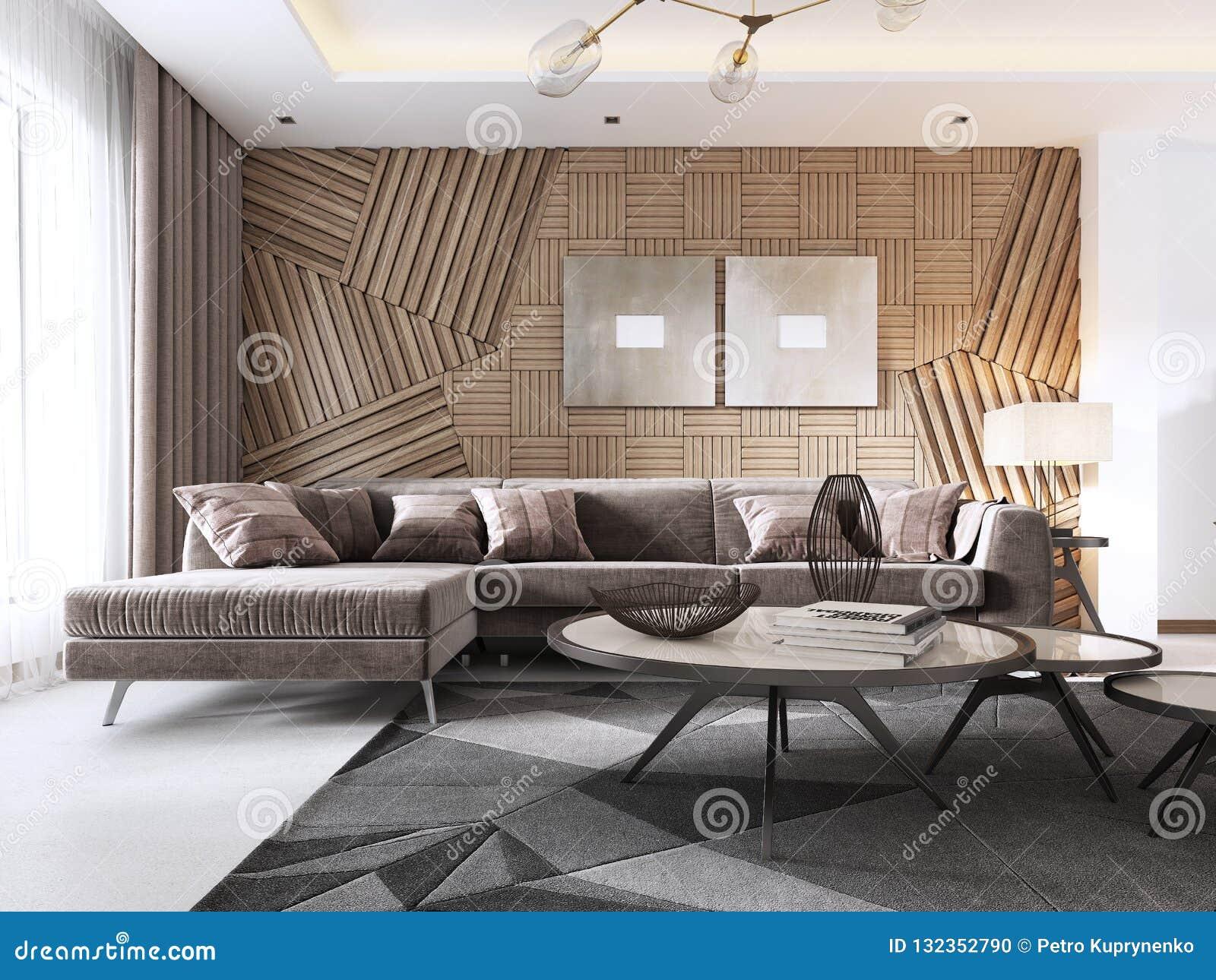 Salon Luxueux Dans Le Style Contemporain Avec Le Panneau Décoratif ...