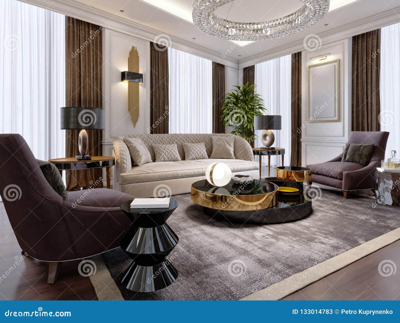 Salon Luxueux Dans Le Style Moderne Avec Le Sofa, Fauteuil ...