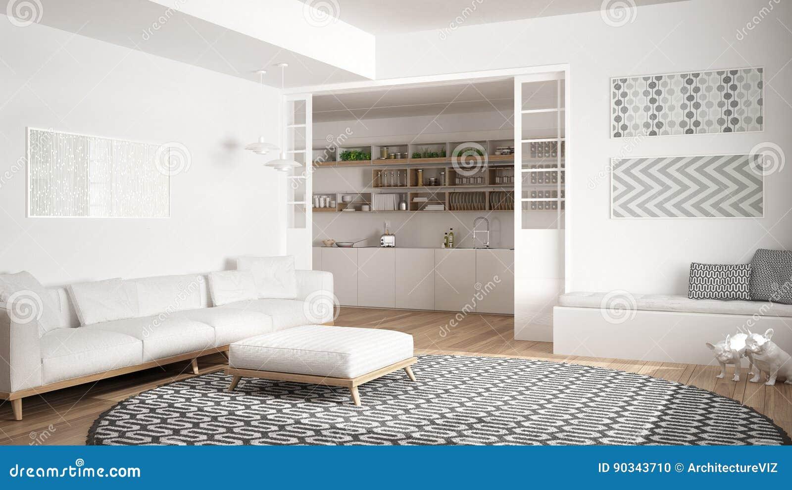 Salon Minimaliste Avec Le Sofa Le Grand Tapis Rond Et La