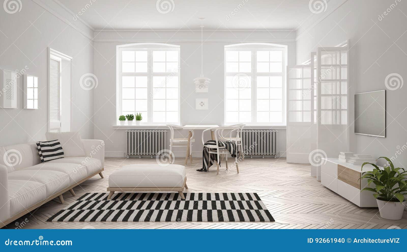 Salon minimaliste lumineux avec le sofa et la table de Salon lumineux