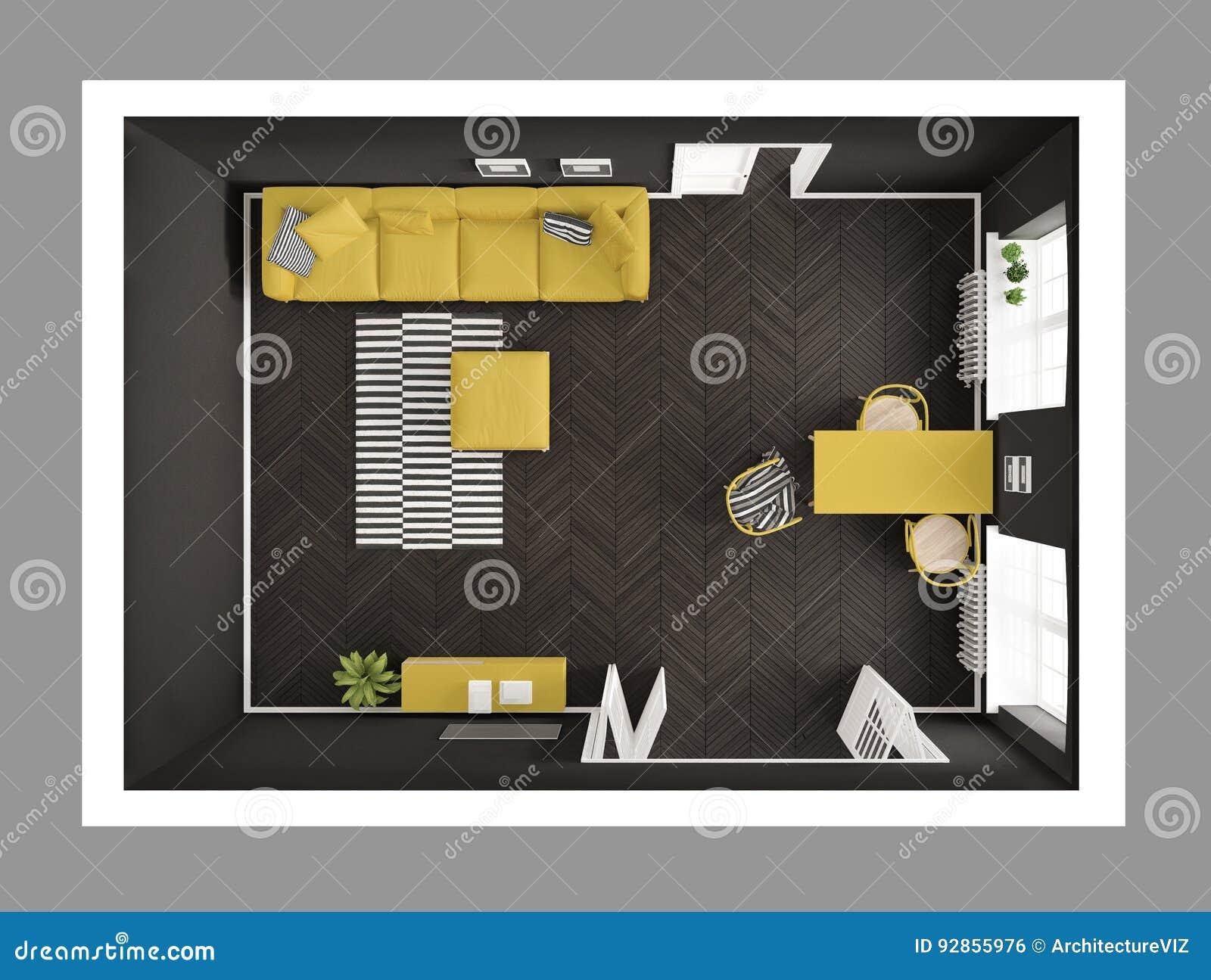Salon minimaliste lumineux avec le sofa et la table de salle à manger, scandi