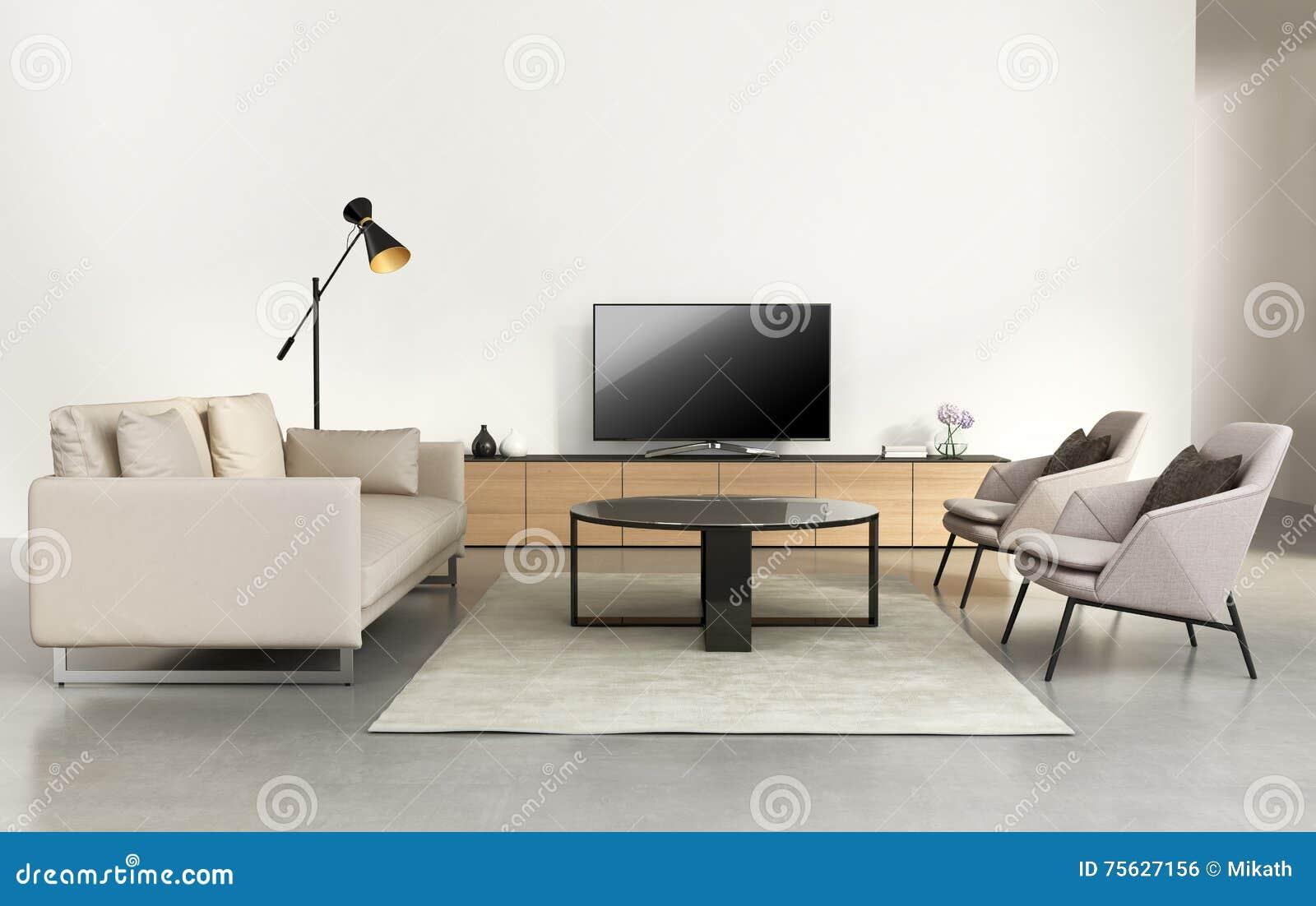 Salon moderne avec des meubles de mur de TV