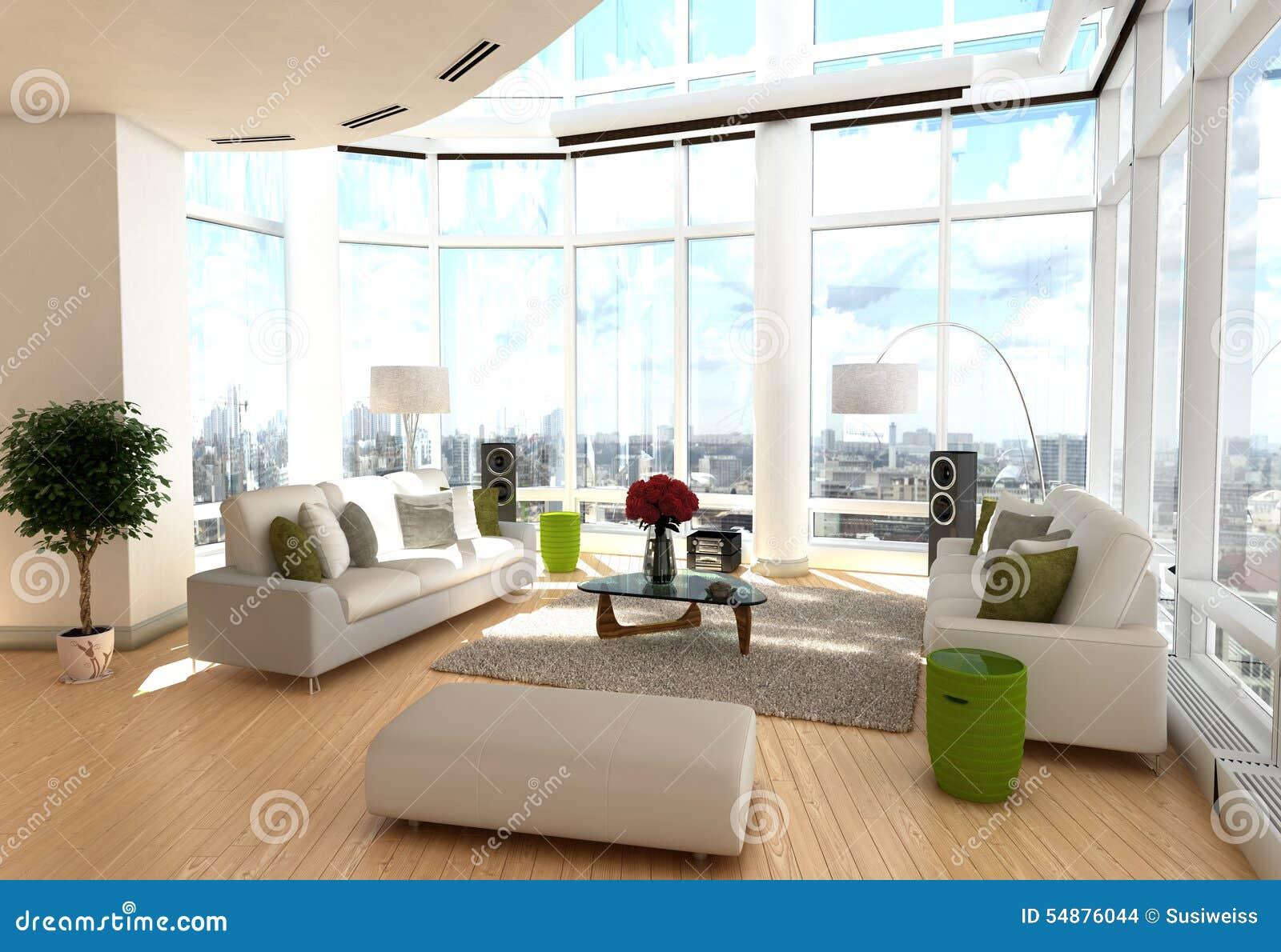 Salon moderne avec l'enrouler autour des fenêtres illustration ...