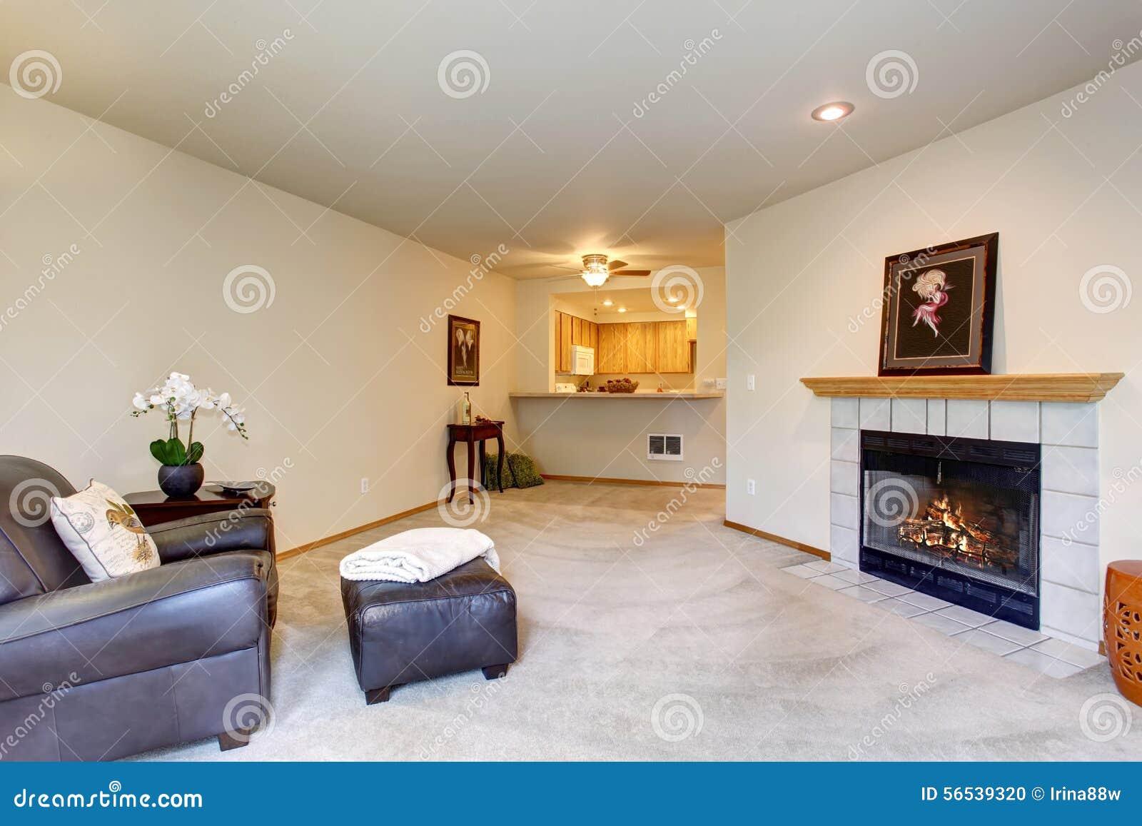 Salon moderne avec la chaise en cuir brune et un endroit du feu ...