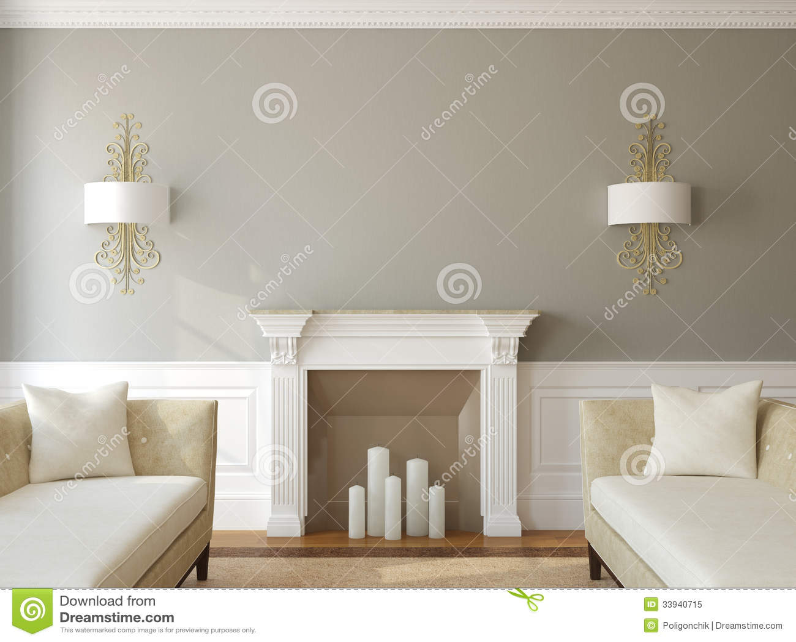Salon moderne avec la chemin e illustration stock image 33940715 for Photo salon avec cheminee moderne