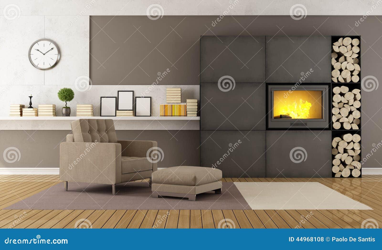 Salon moderne avec la chemin e illustration stock image 44968108 for Photo salon avec cheminee moderne