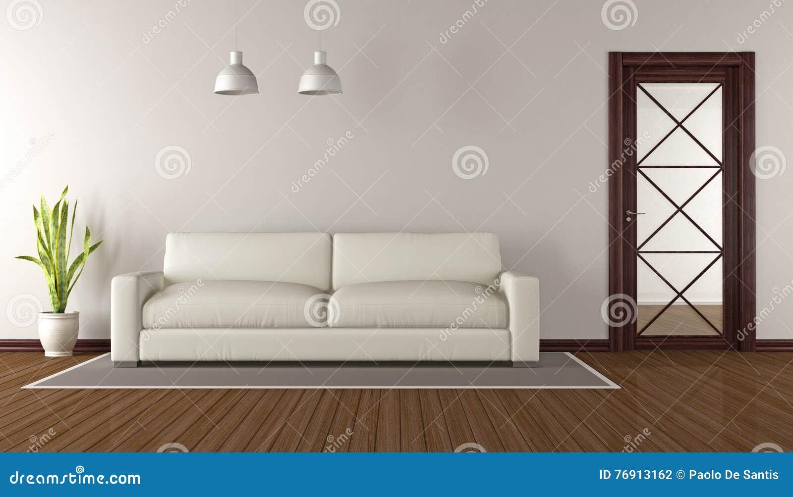 Salon moderne avec la porte en verre en bois rendu 3d illustration stock illustration du for Porte en bois moderne