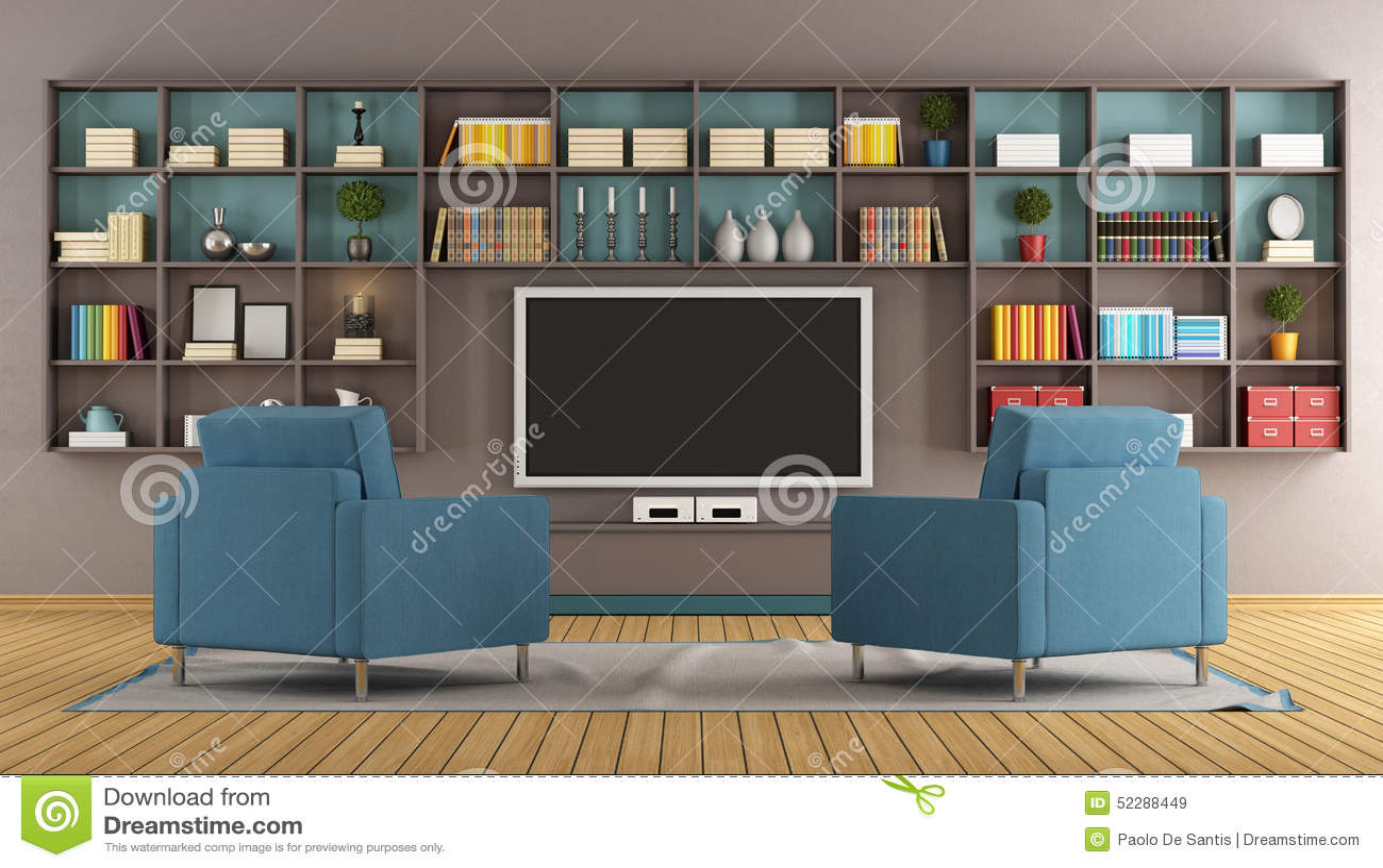 Salon Moderne Avec La Tv Illustration Stock Illustration Du  # Salon Tv Moderne