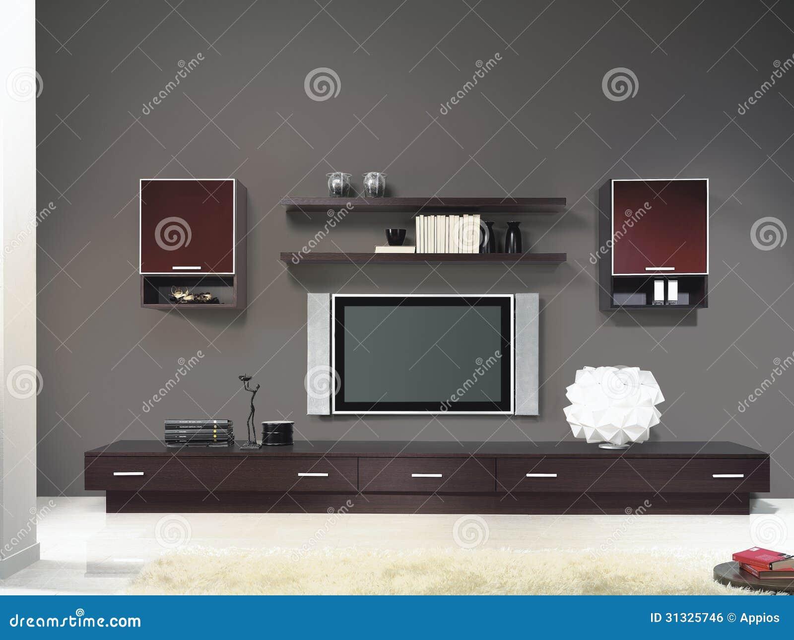 salon moderne avec la tv et le tapis image libre de droits image 31325746. Black Bedroom Furniture Sets. Home Design Ideas
