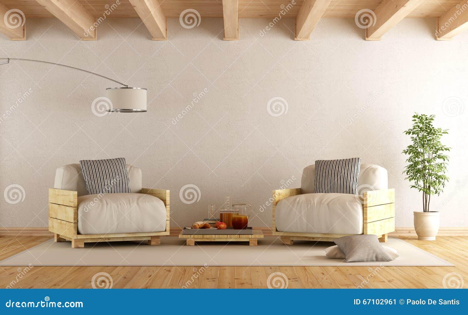 salon moderne avec le fauteuil de deux palettes. Black Bedroom Furniture Sets. Home Design Ideas