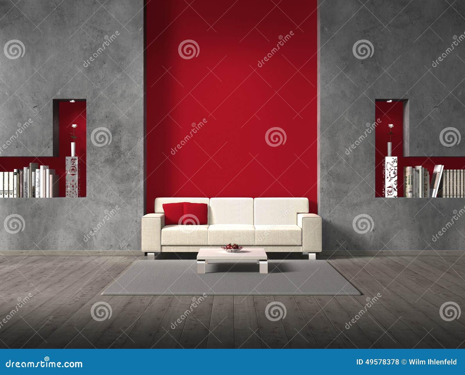 Salon moderne avec le mur marron
