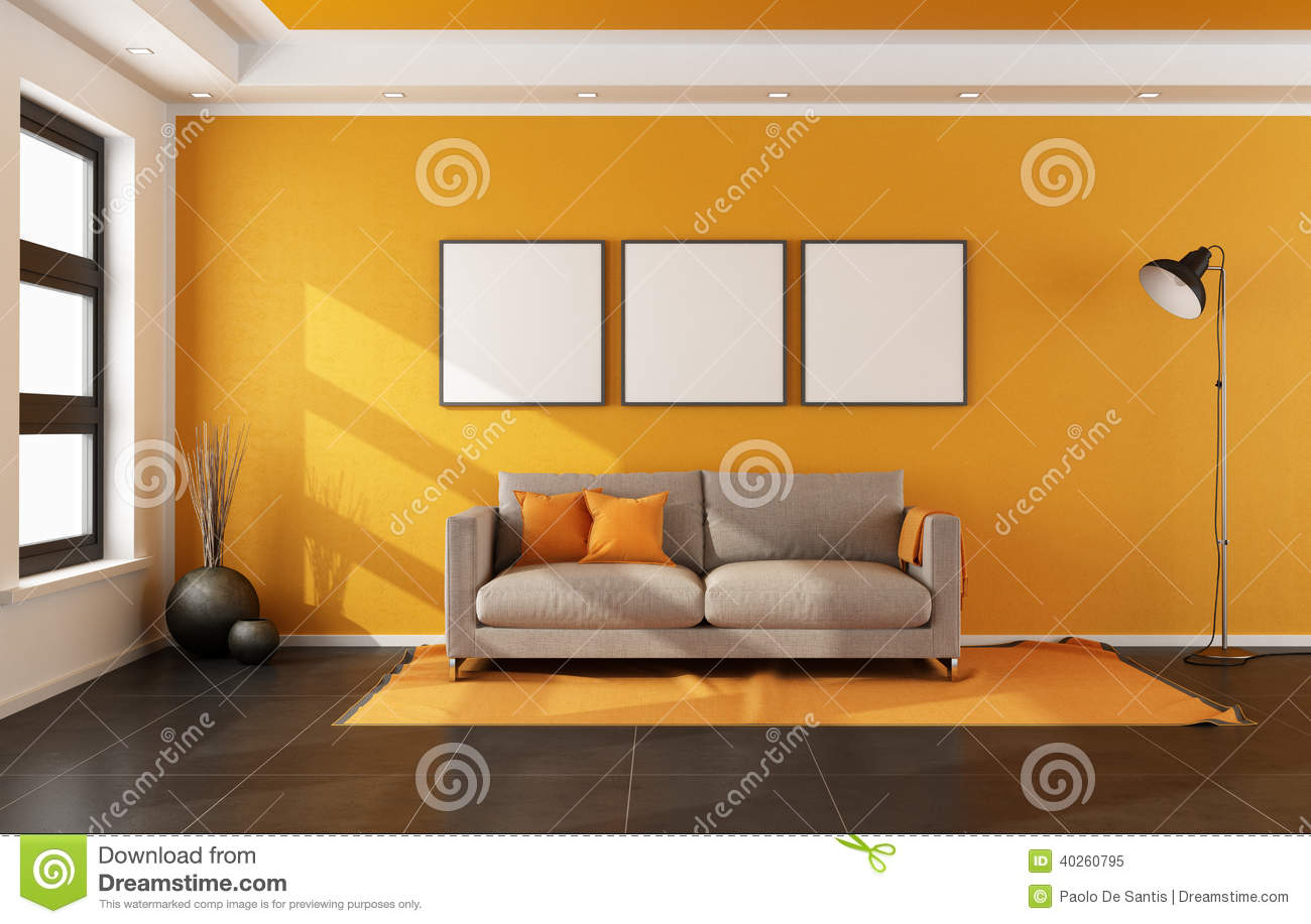 Salon moderne avec le mur orange illustration stock for Mur salon moderne