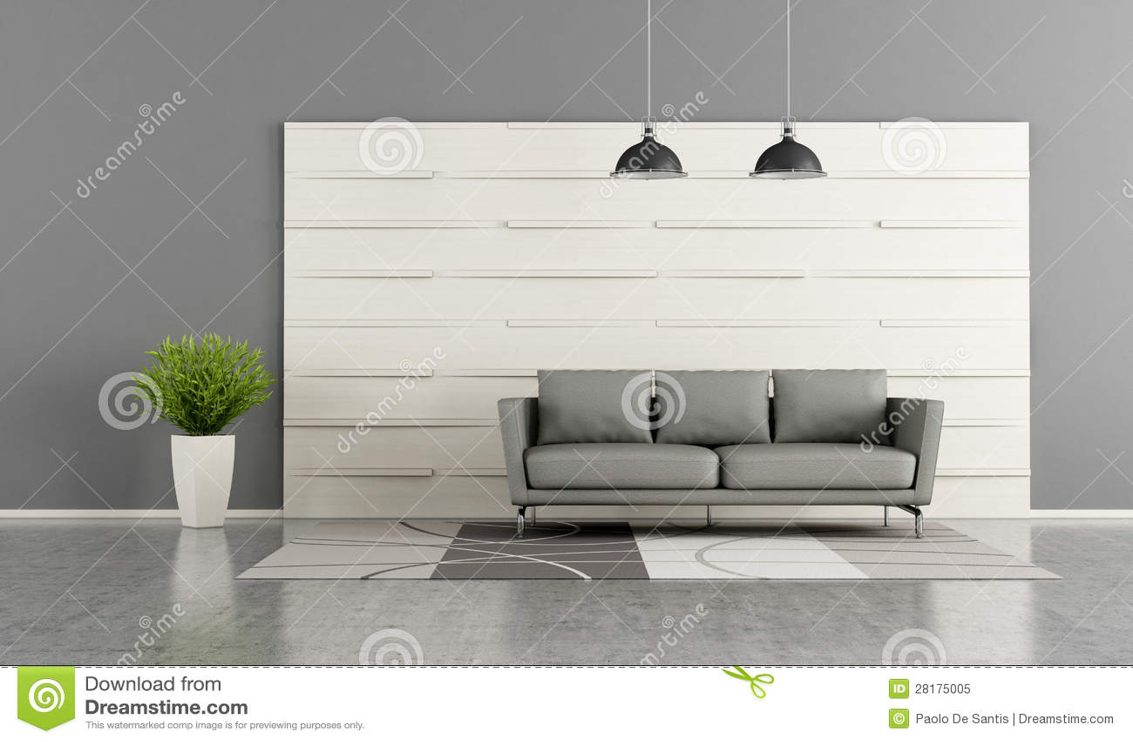 Salon Moderne Avec Le Panneau En Bois Blanc Photo libre de droits ...