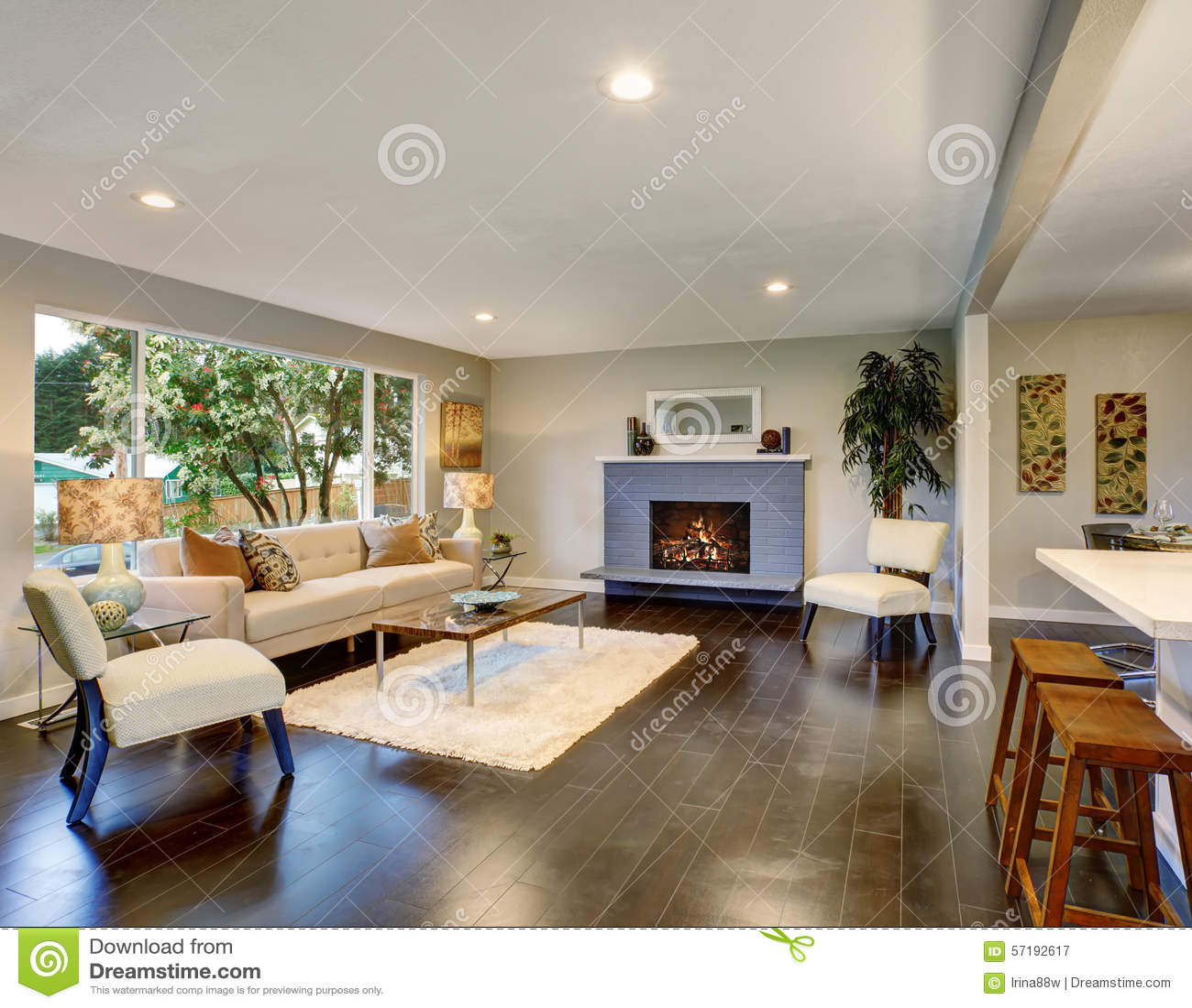 Salon moderne avec le plancher en bois dur foncé photo stock ...