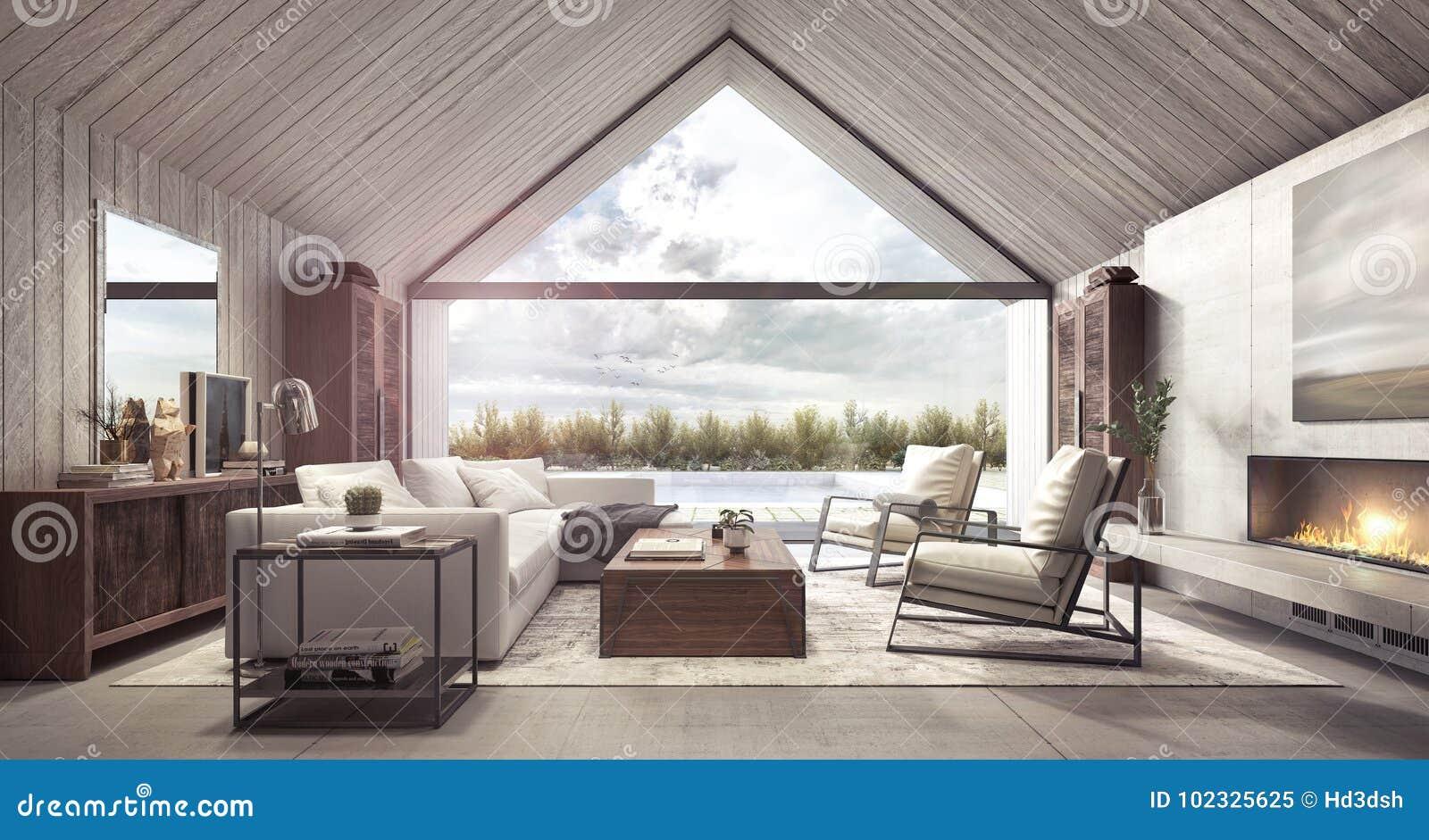 Salon moderne avec le regard sur l arrière-cour avec la piscine et le jardin