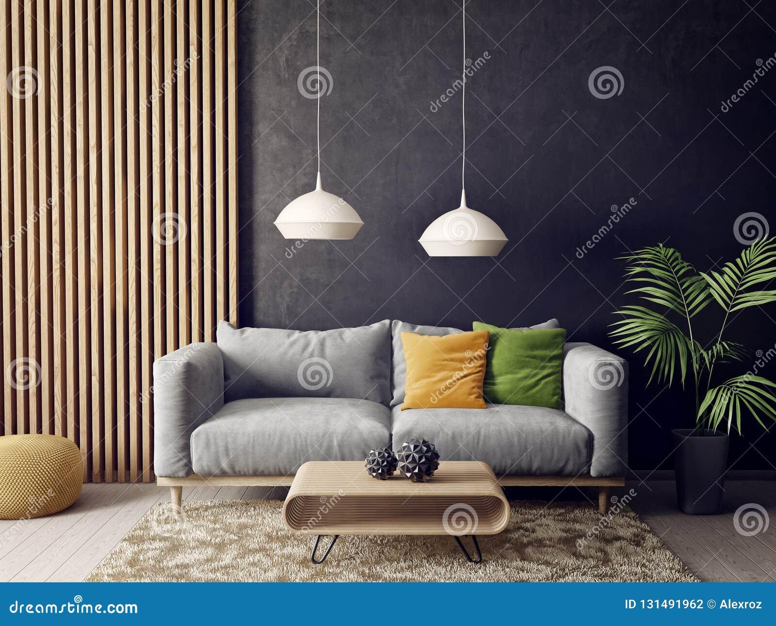 Salon Moderne Avec Le Sofa Et La Lampe Meubles Scandinaves De ...