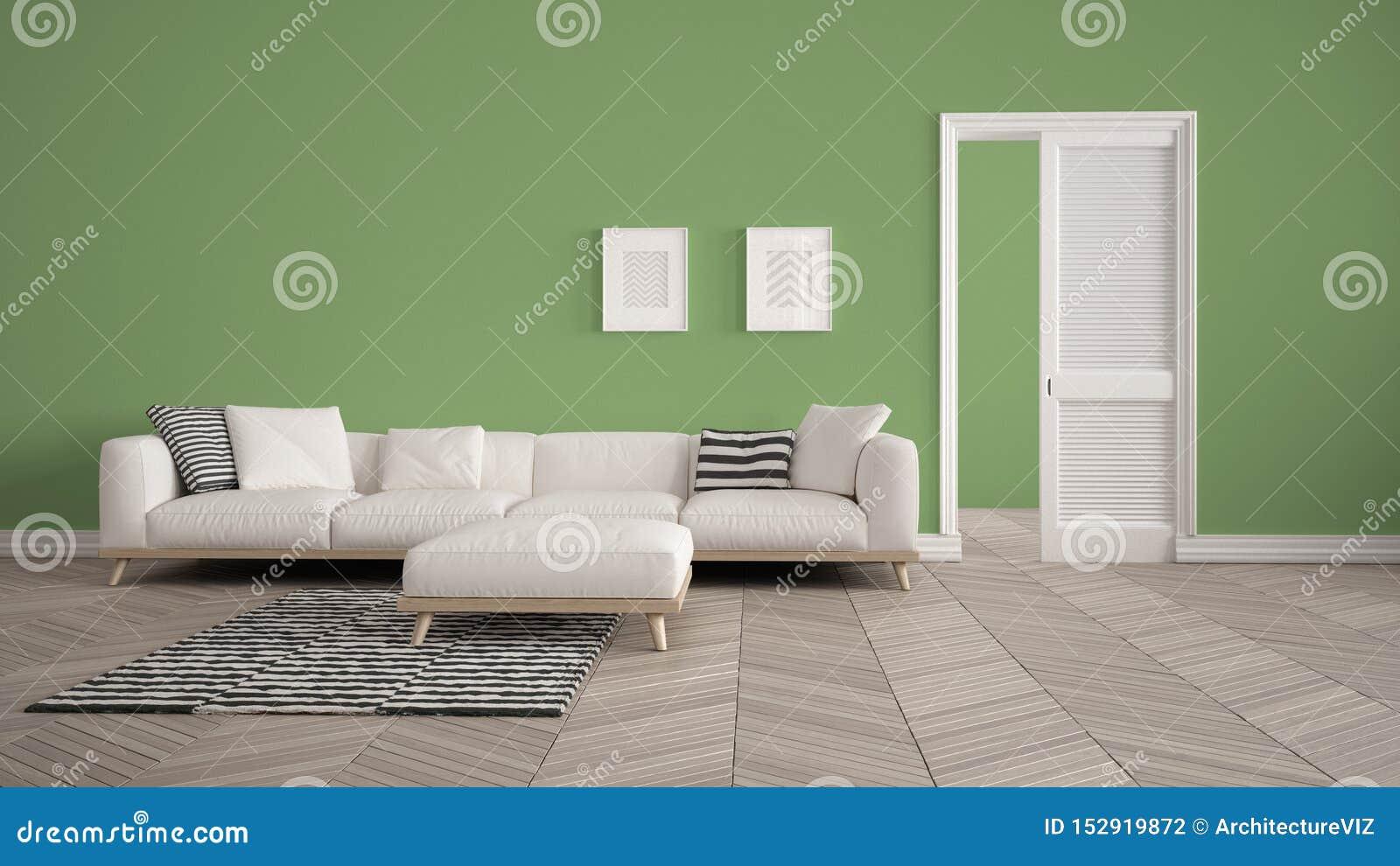Salon Moderne Avec Le Sofa Et Le Tapis Blancs, Fond Vert De Mur
