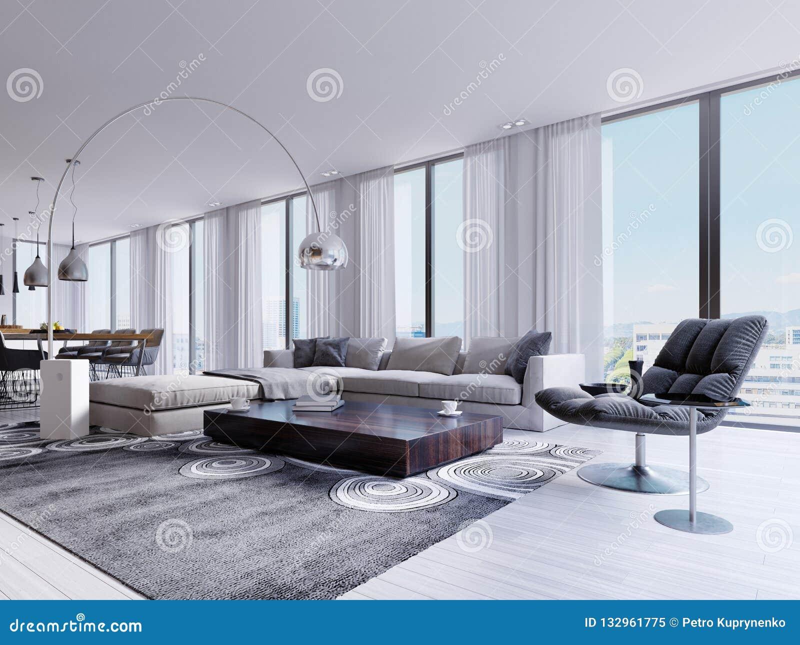 Salon Moderne Avec Les Fenêtres Et Le Fauteuil Et La Table De Salle à  Manger énormes