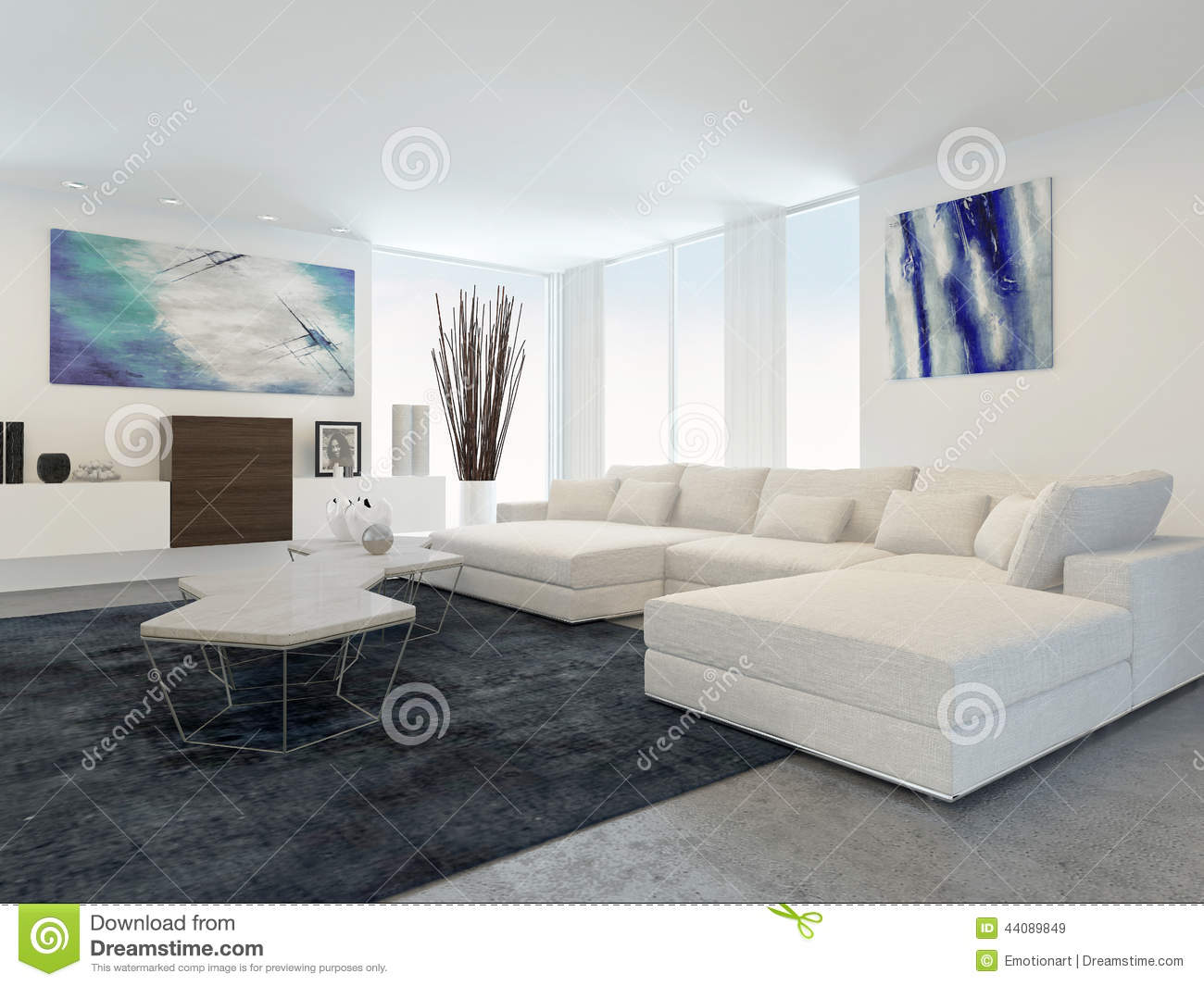 salon moderne avec les meubles blancs illustration stock image 44089849. Black Bedroom Furniture Sets. Home Design Ideas