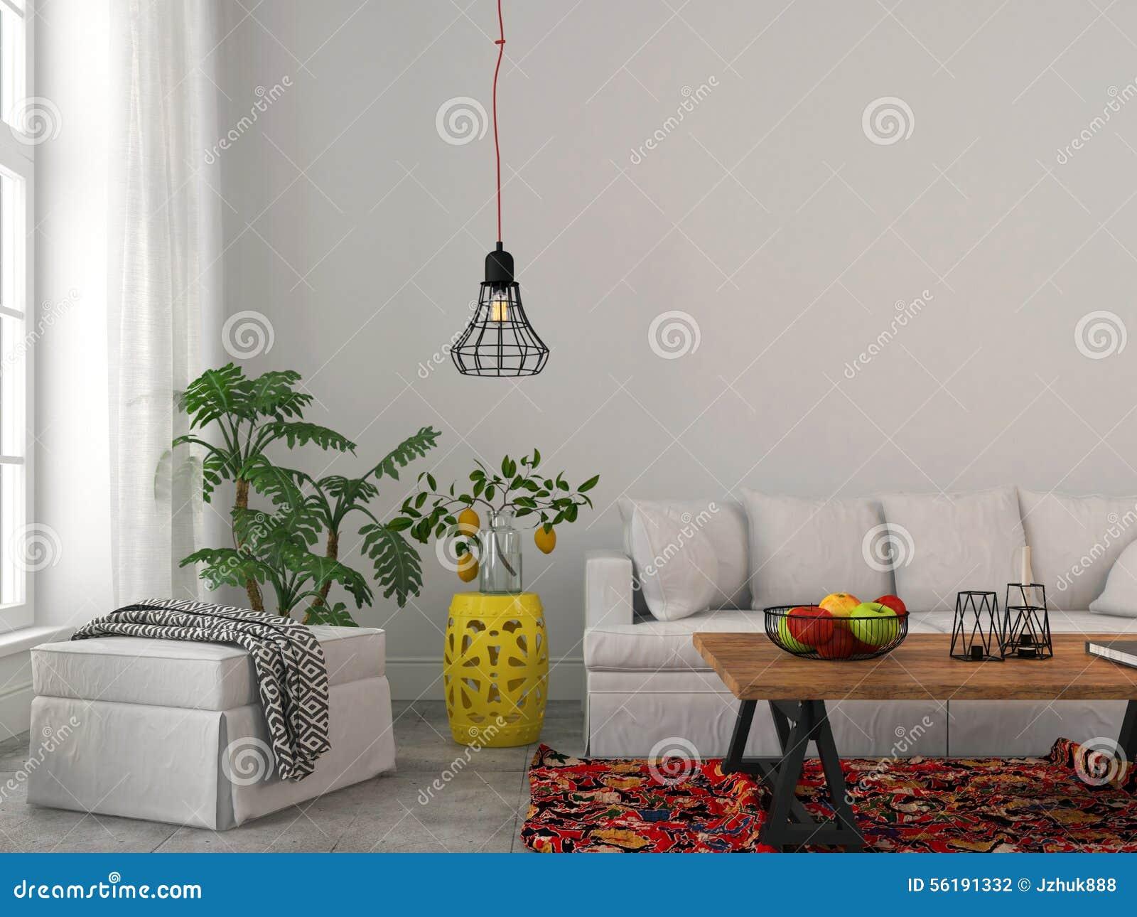 Salon moderne avec les meubles blancs et le lustre noir photo ...