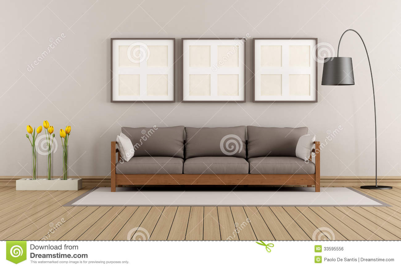 Salon Moderne Beige Et Brun Illustration Stock - Illustration du ...