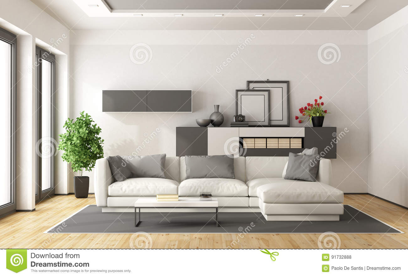 Salon Moderne Blanc Et Gris Illustration Stock