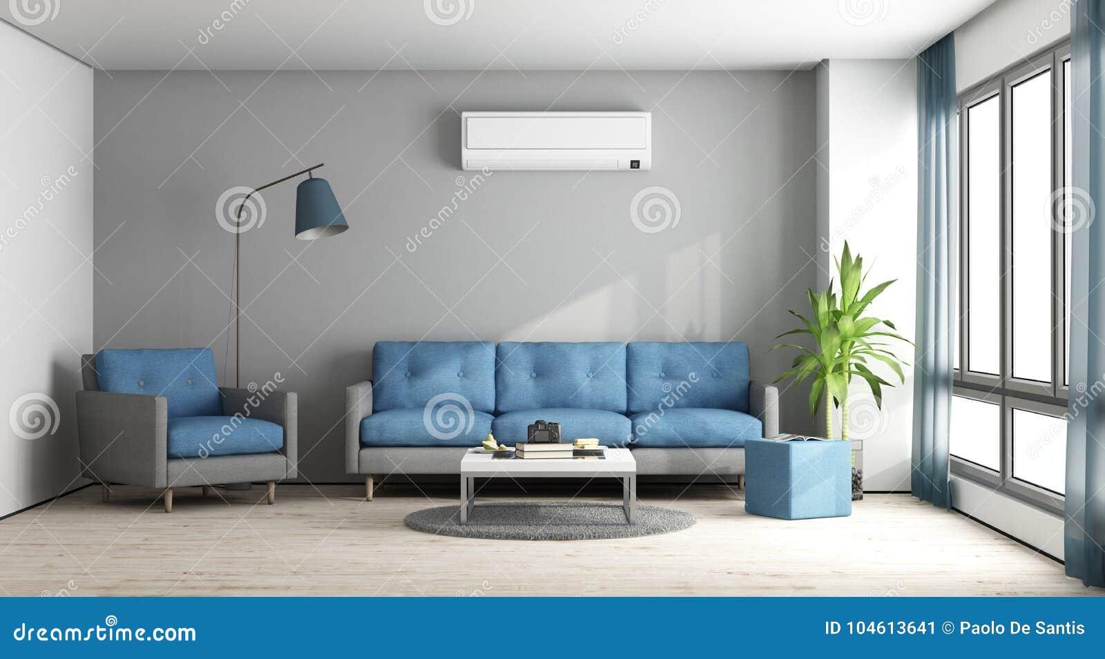 Salon moderne bleu et gris illustration stock. Illustration du étage ...
