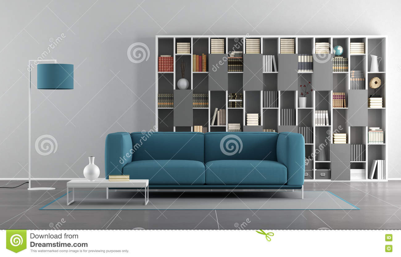 Salon moderne bleu et gris illustration stock. Illustration ...