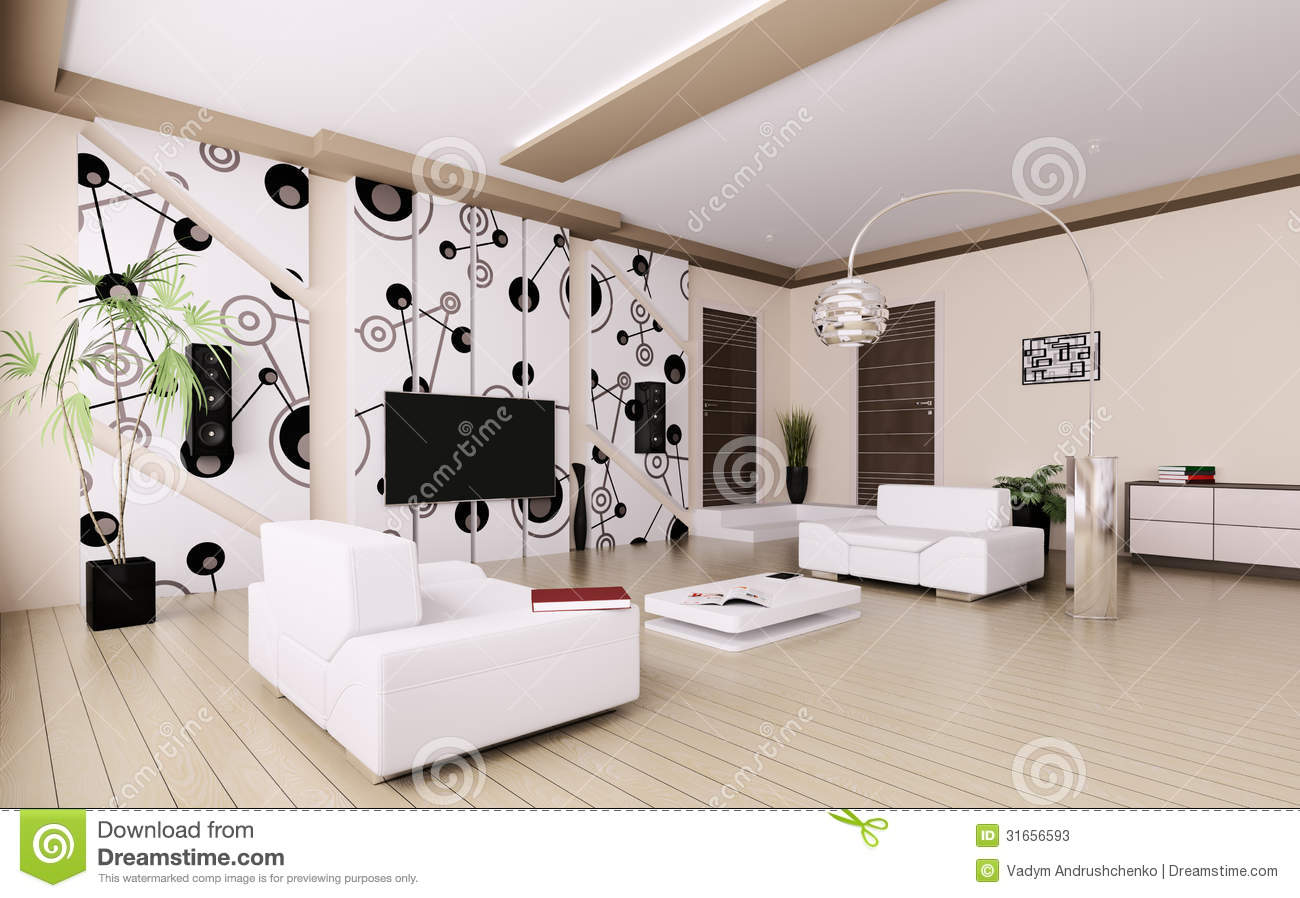 Salon moderne 3d int rieur illustration stock image du for Decoration interieur moderne salon