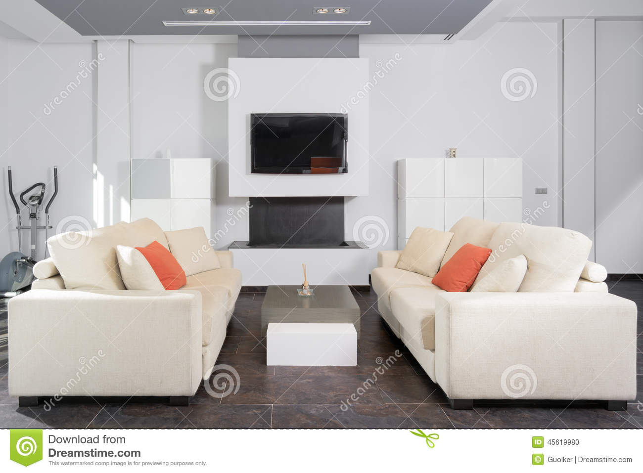 Salon moderne dans le blanc photo stock image 45619980 for Salon moderne blanc