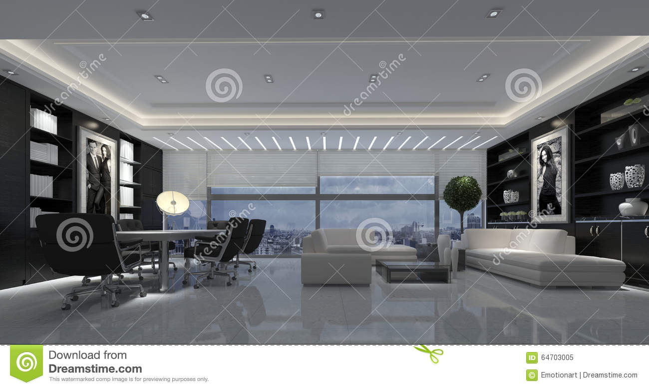 Salon moderne de grand ouvert plan illustration stock for Grand salon design