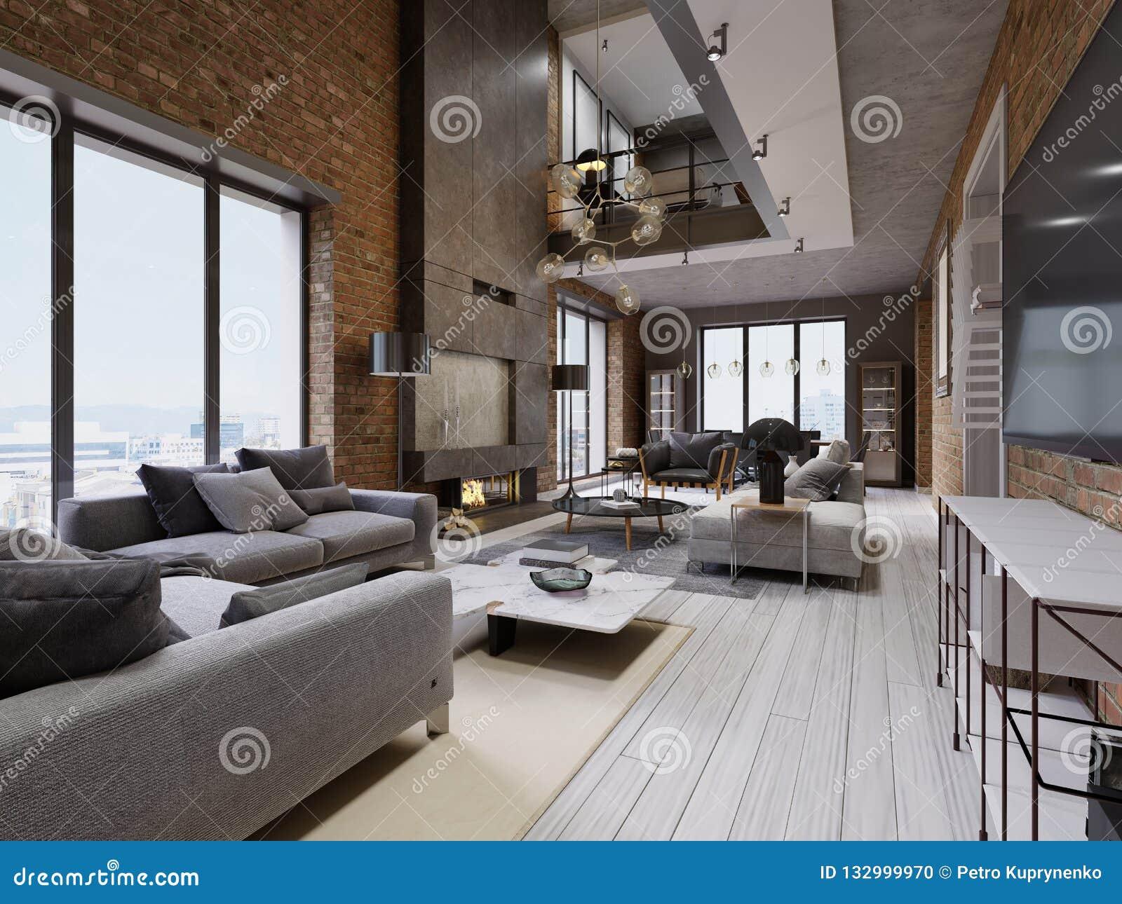 Idee Tapisserie Salle A Manger salon moderne de grenier avec à haut plafond, le sofa, le