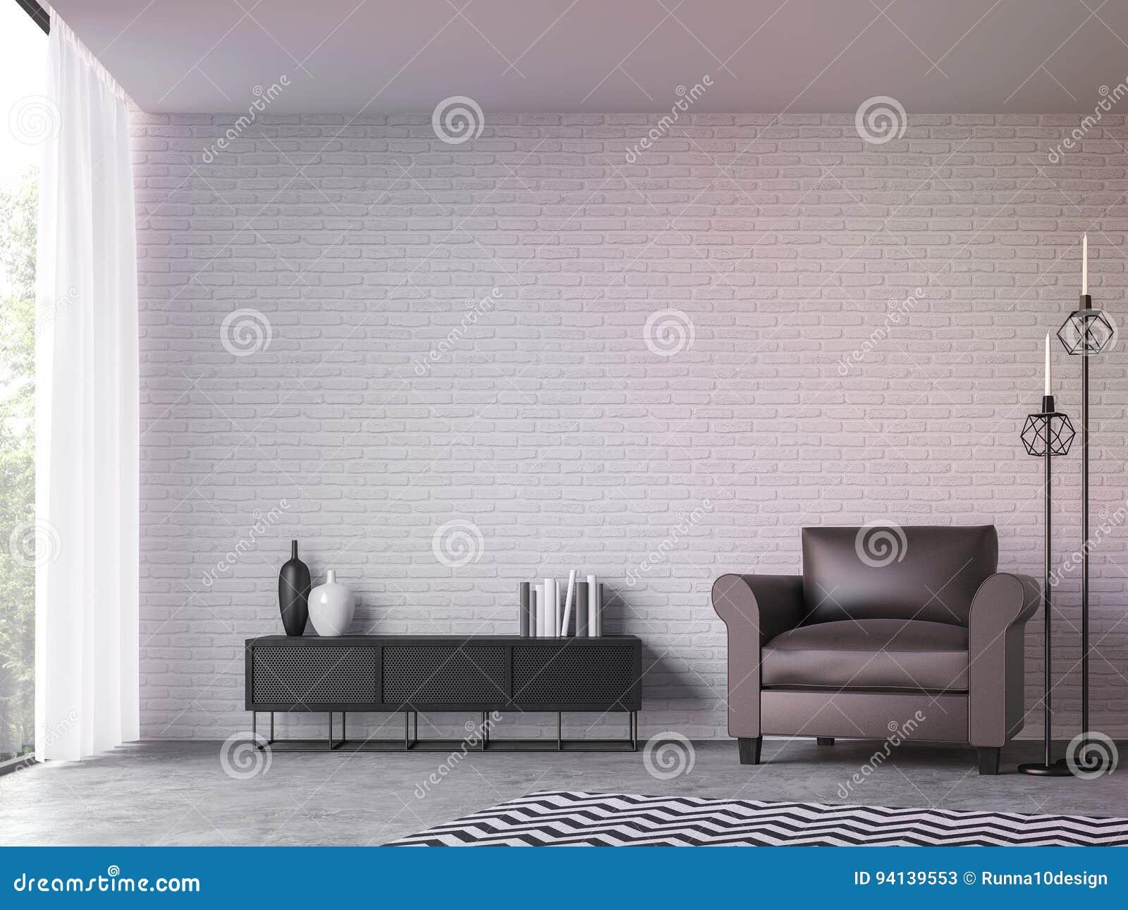 Salon moderne de grenier avec l image de rendu de la vue 3d de nature