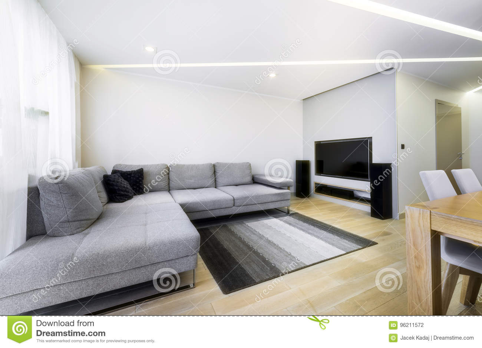 Couleur De Salon Gris salon moderne et élégant dans la couleur grise photo stock