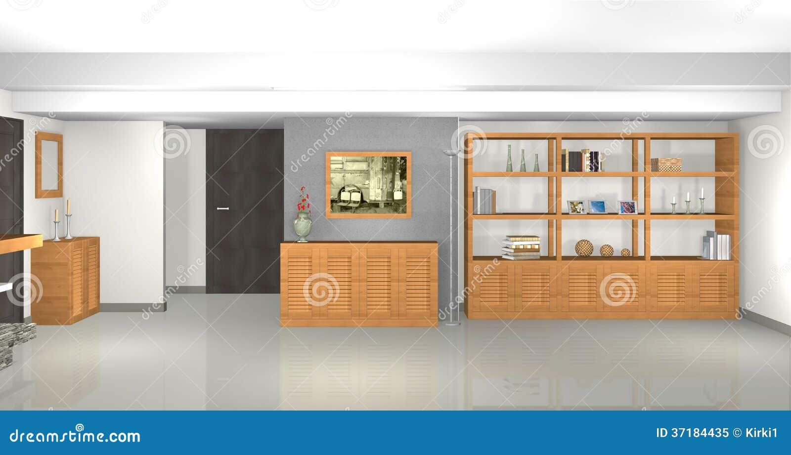 Salon moderne et gris avec la biblioth que et chemin e - Salon avec bibliotheque ...