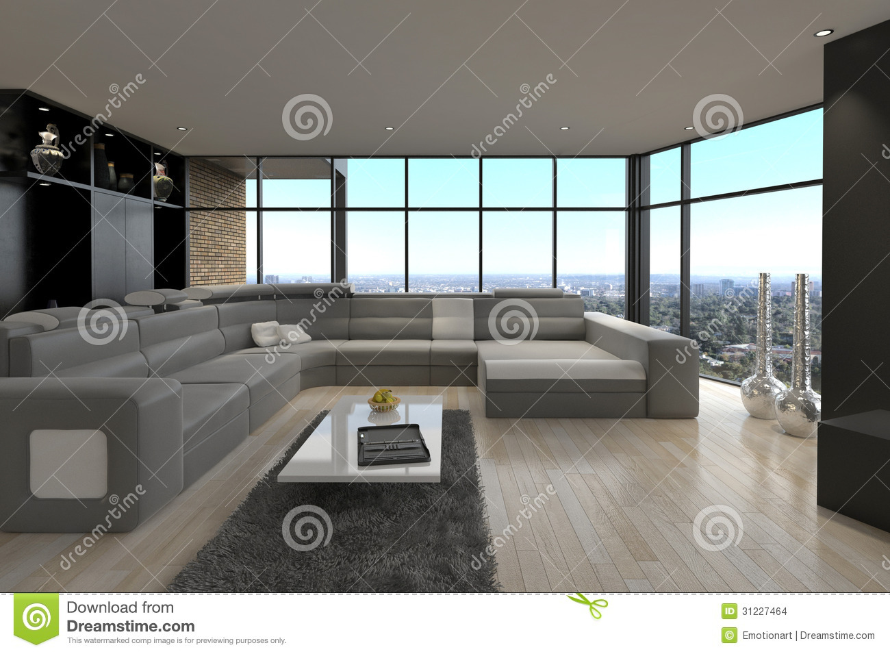 Salon moderne impressionnant de grenier int rieur d 39 architecture photo stock image 31227464 for Interieur salon moderne