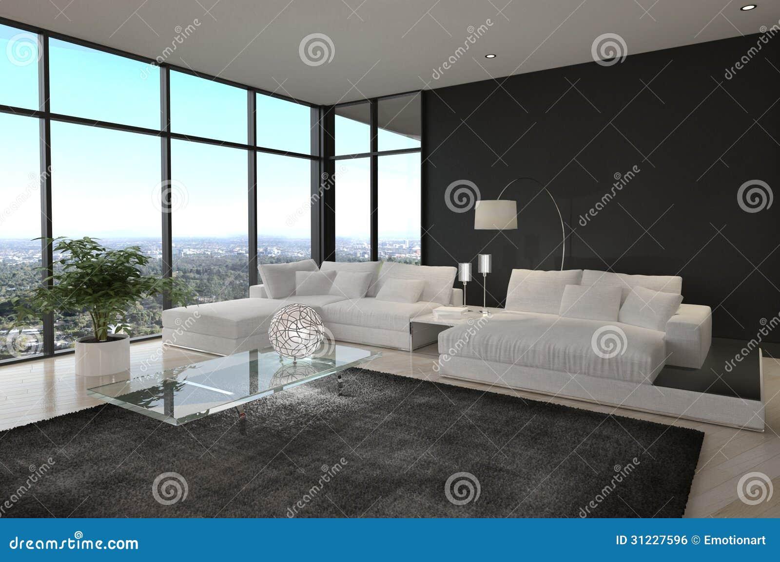 Salon moderne impressionnant de grenier int rieur d 39 architecture image libre de droits image for Interieur salon moderne