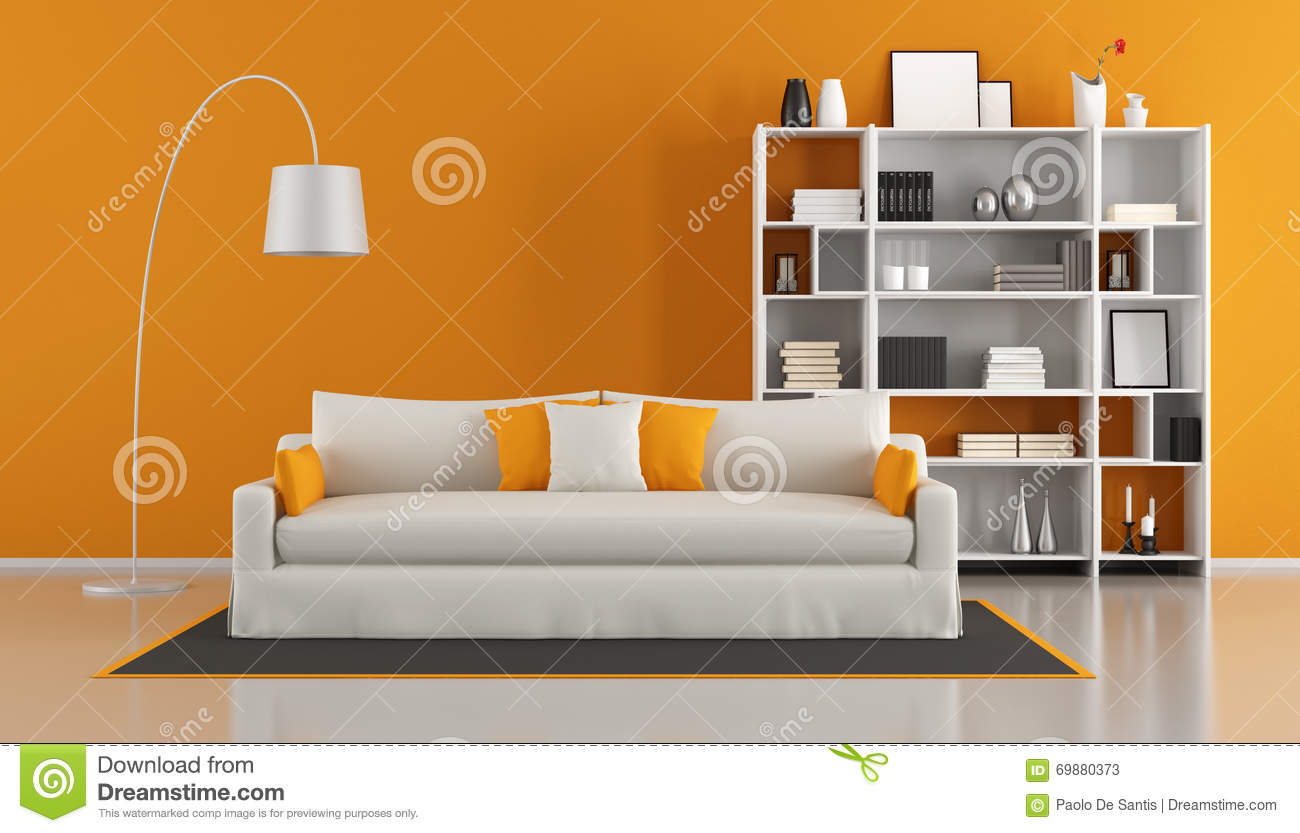 salon moderne orange illustration stock image du tapis 69880373. Black Bedroom Furniture Sets. Home Design Ideas