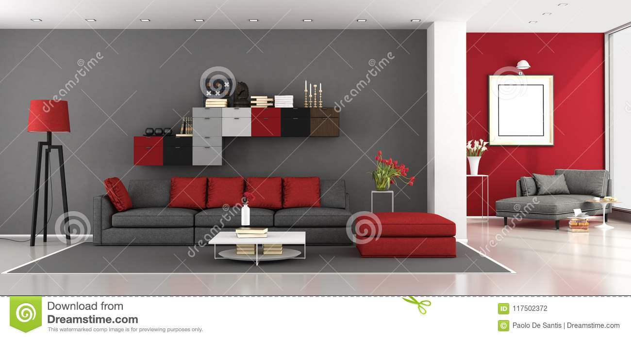 salon moderne rouge et gris illustration stock illustration du noir livres 117502372. Black Bedroom Furniture Sets. Home Design Ideas