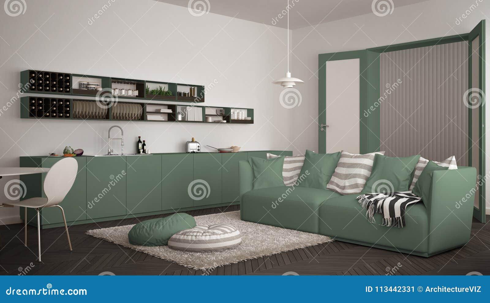 Salon Moderne Scandinave Avec La Cuisine, La Table De Salle à Manger, Le  Sofa