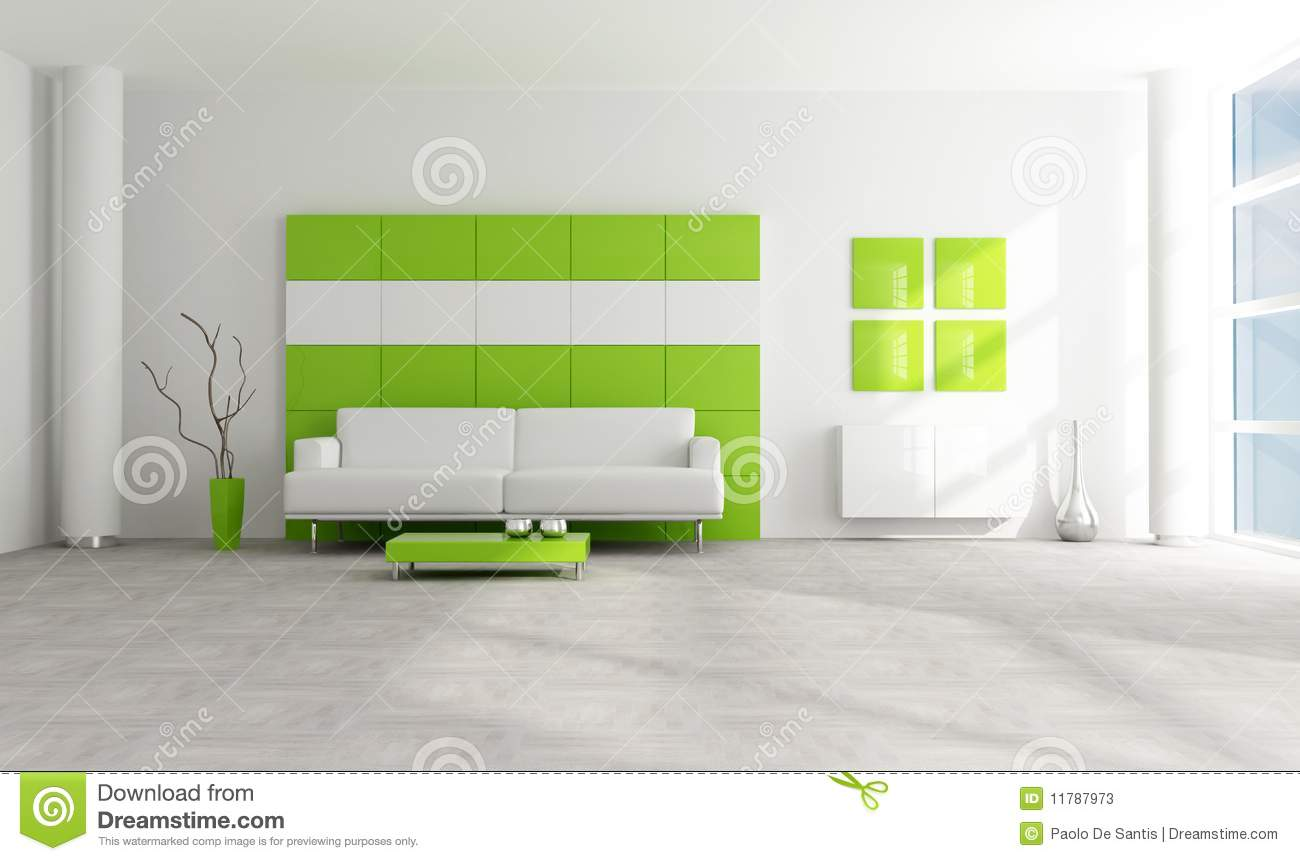 Salon moderne vert et blanc illustration stock illustration du contemporain cr ateur 11787973 - Salon moderne blanc ...