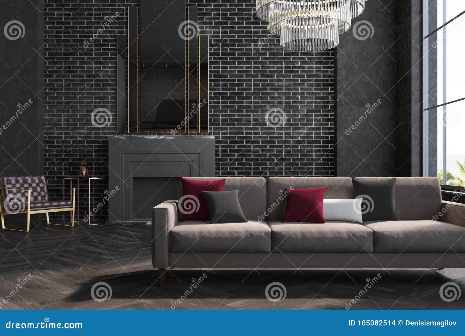 Salon Noir De Mur De Briques Sofa Cheminee Illustration Stock Illustration Du Noir Cheminee 105082514