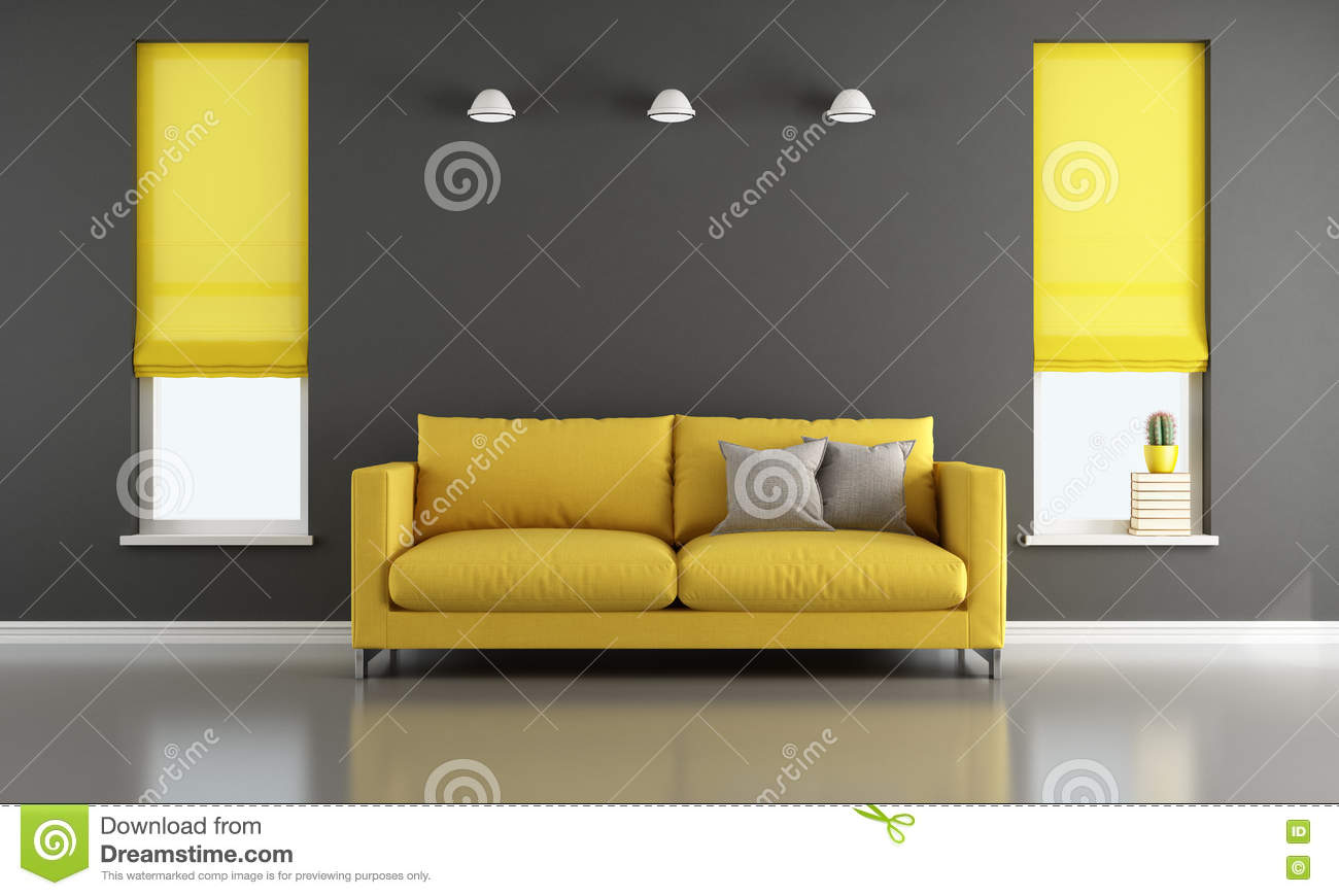 Salon noir et jaune illustration stock. Illustration du home ...