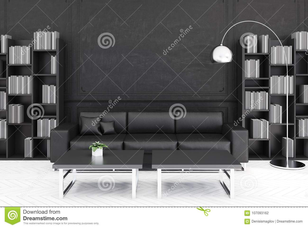Salon Noir Sofa Noir Illustration Stock Illustration Du