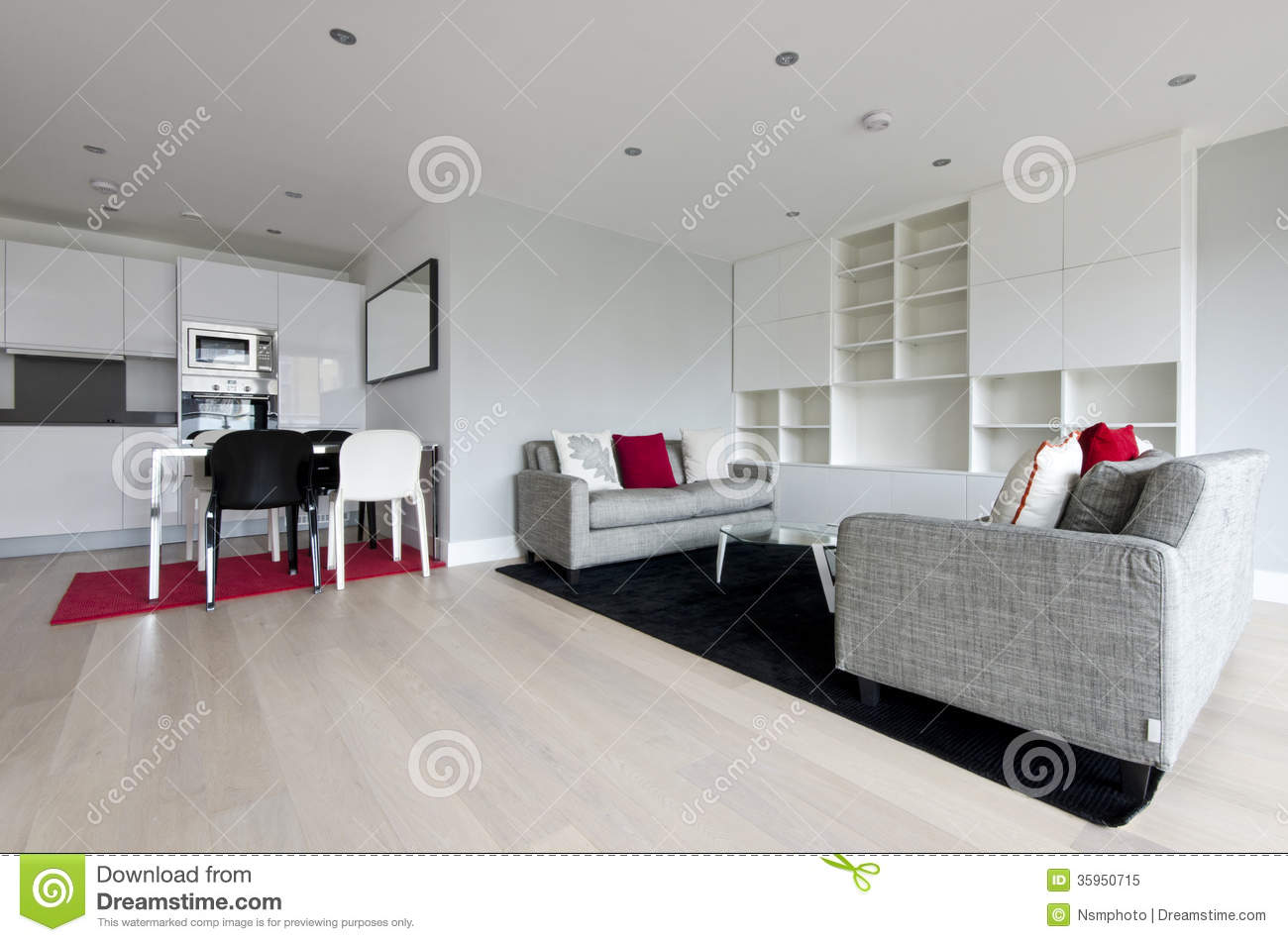salon ouvert moderne de plan avec la cuisine enti rement adapt e photo libre de droits image. Black Bedroom Furniture Sets. Home Design Ideas